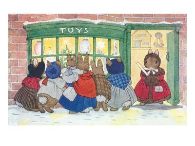 Bunnies at Toy Shop--Art Print