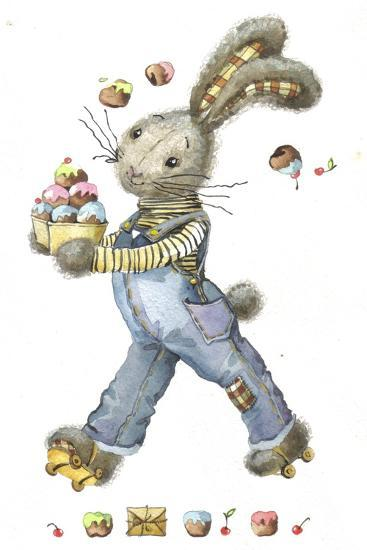 Bunny Rabbit on Roller Skates with Easter Eggs-ZPR Int'L-Giclee Print