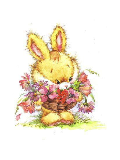 decortive ester ccents easter rabbit decor bunny.htm bunny rabbit with basket of flowers giclee print by zpr int l art com  flowers giclee print by zpr int l