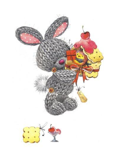 Bunny Rabbit with Gift, Cherry on Top-ZPR Int'L-Giclee Print