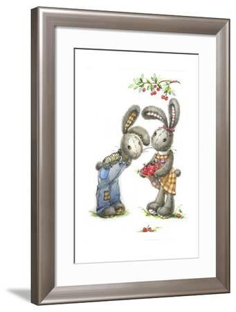 Bunny Rabbits with Cherries-ZPR Int'L-Framed Giclee Print