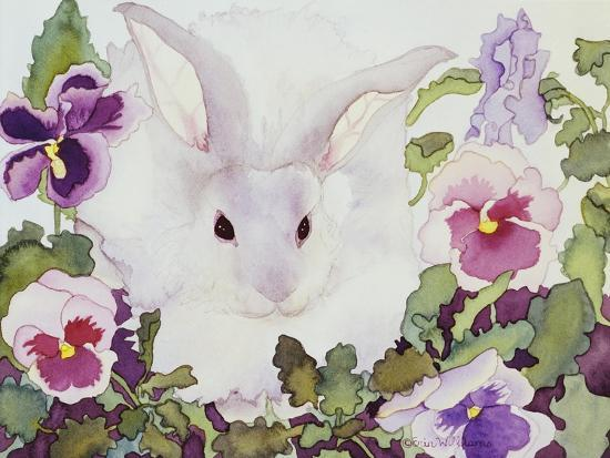 Bunny with Pansies-Carissa Luminess-Giclee Print
