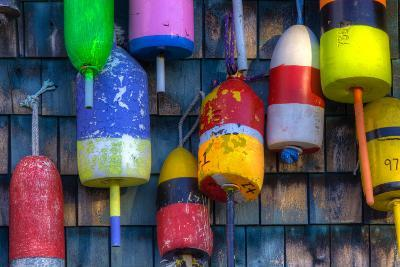 Buoys on an Old Shed at Bernard, Maine, USA-Joanne Wells-Photographic Print