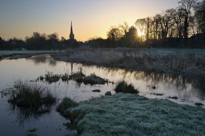 Burford Church and River Windrush on Frosty Winter Morning, Burford, Cotswolds-Stuart Black-Photographic Print