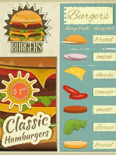 Burgers Menu Set Retro-elfivetrov-Art Print