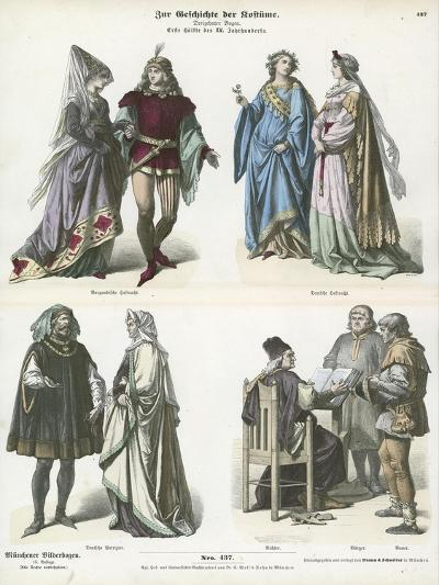 Burgundian and German Costumes, First Half of 15th Century--Giclee Print