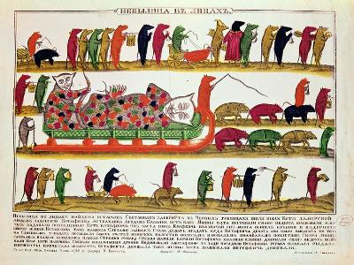 Burial of a Cat by the Mice, Caricature of Tsar Peter the Great 1850--Giclee Print