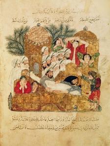 "Burial of a Plague Victim, from ""Al Maqamat"" by Al-Hariri"