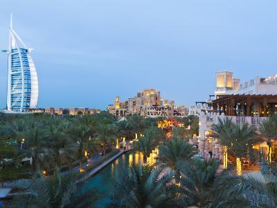 Burj Al Arab and Madinat Jumeirah Hotels at Dusk, Dubai, United Arab Emirates, Middle East-Amanda Hall-Photographic Print