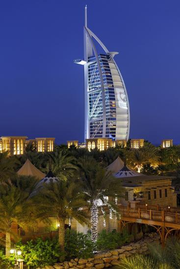 Burj Al Arab and Medinat Hotels, 7 Stars Hotel, Jumeirah, Dubai, United Arab Emirates-Axel Schmies-Photographic Print