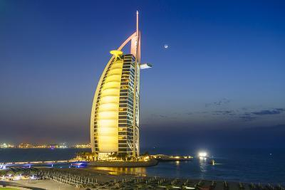 Burj Al Arab Hotel at Night, Iconic Dubai Landmark, Jumeirah Beach, Dubai, United Arab Emirates-Fraser Hall-Photographic Print