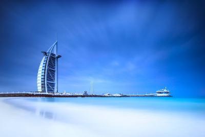 Burj Al Arab Hotel on Jumeirah Beach in Dubai, Modern Architecture, Luxury Beach Resort, Summer Vac-Anna Omelchenko-Photographic Print