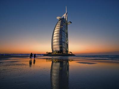 Burj Al Arab Hotel Reflected on Beach at Sunset-Merten Snijders-Photographic Print