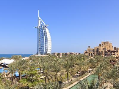 Burj Al Arab Viewed From the Madinat Jumeirah Hotel, Jumeirah Beach, Dubai, Uae-Amanda Hall-Photographic Print