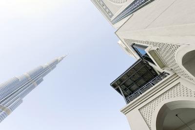 Burj Khalifa and Souk Al Bahar, Downtown Dubai, Dubai, United Arab Emirates, the Middle East-Axel Schmies-Photographic Print
