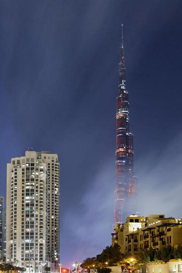 Burj Khalifa, the Highest Tower of the World, Night Photography-Axel Schmies-Photographic Print