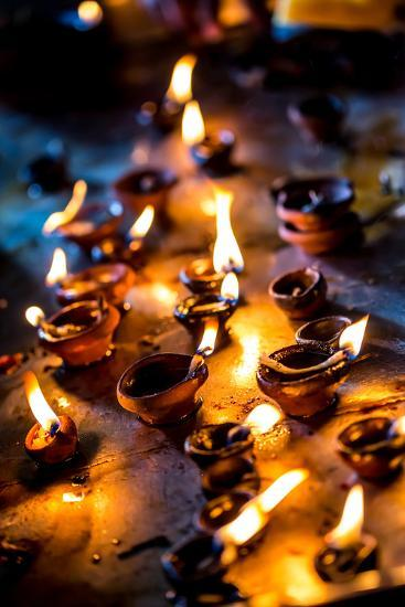 Burning Candles in the Indian Temple during Diwali, The Festival of Lights-Andrey Armyagov-Photographic Print