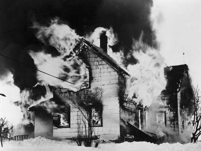 Burning House in Winter--Photographic Print