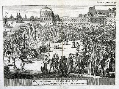 Burning of Heretics Sentenced by the Inquisition, 1759--Giclee Print