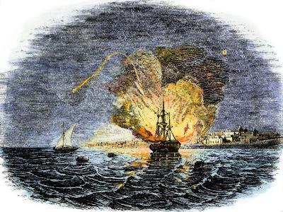 Burning of the American Ship, Philadelphia, Held by Barbary Pirates in Tripoli Harbor, c.1804--Giclee Print