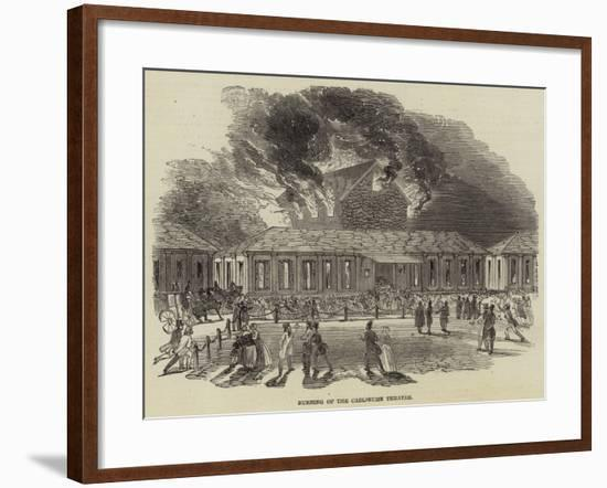 Burning of the Carlsruhe Theatre--Framed Giclee Print