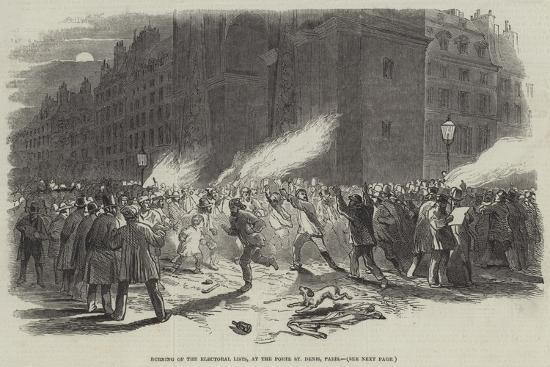 Burning of the Electoral Lists, at the Porte St Denis, Paris--Giclee Print