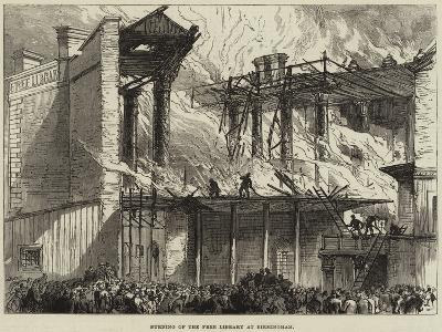Burning of the Free Library at Birmingham--Giclee Print