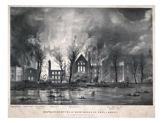 Burning of the Houses of Parliament--Giclee Print