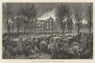 Burning of the Lunatic Asylum at Montreal, Canada--Giclee Print