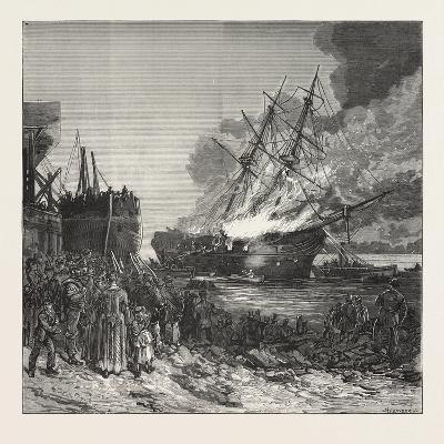 Burning of the Marine Society's Training-Ship the Warspite, Off Charlton, 1876--Giclee Print