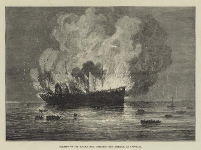 Burning of the Pacific Mail Company's Ship America, at Yokohama--Giclee Print