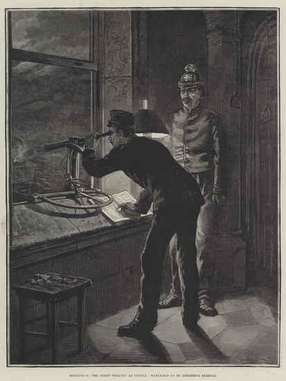 Burning of the Stadt Theatre at Vienna, Watchman in St Stephen's Steeple-Johann Nepomuk Schonberg-Giclee Print