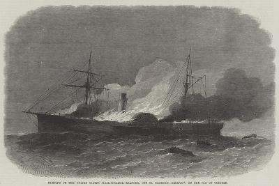 Burning of the United States' Mail-Steamer Roanoke, Off St George'S, Bermuda, on 9 October-Edwin Weedon-Giclee Print