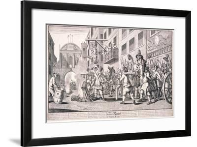 Burning the Rumps at Temple Bar, London, 1726-William Hogarth-Framed Giclee Print