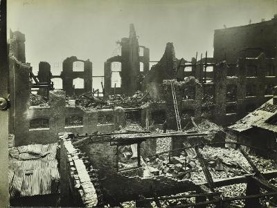 Burnt-Out Building, Concordia Wharf, Poplar, London, 1924--Photographic Print