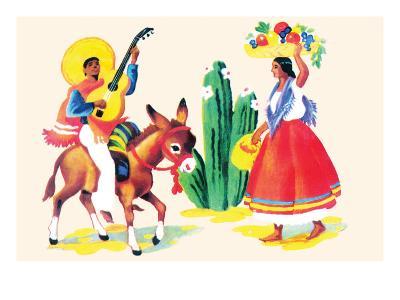 Burro Rider Serenades La Senorita--Art Print