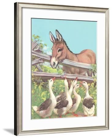 Burro Talking to Geese--Framed Art Print