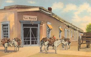 Burros with Firewood, la Fonda, Santa Fe, New Mexico