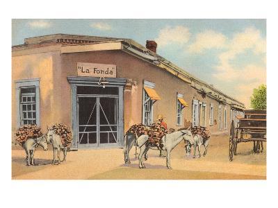 Burros with Firewood, La Fonda, Santa Fe, New Mexico--Art Print