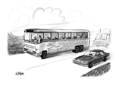 Bus filled with Greyhound dogs, with the logo of a running man. - New Yorker Cartoon-Warren Miller-Premium Giclee Print