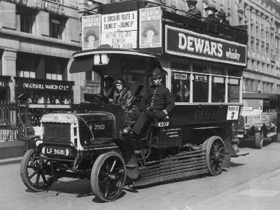 Bus Gets Police Protection During the General Strike--Photographic Print