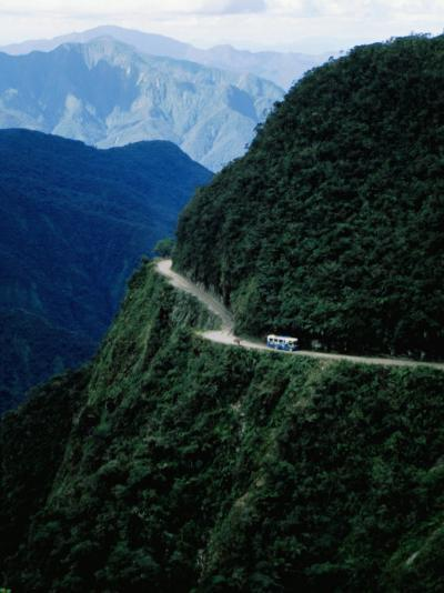 Bus Travelling the World's Most Dangerous Road-Craig Pershouse-Photographic Print