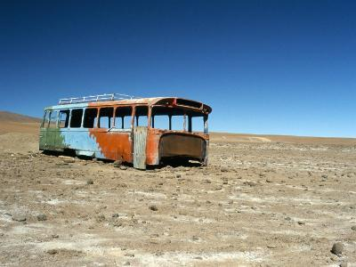 Bus Wreck, Near Chilean Border, Salar De Uyuni, Bolivia, South America-Mark Chivers-Photographic Print