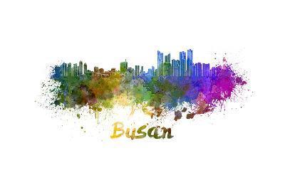 Busan Skyline in Watercolor-paulrommer-Art Print