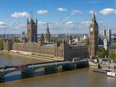 Buses Crossing Westminster Bridge by Houses of Parliament, London, England, United Kingdom, Europe-Walter Rawlings-Photographic Print