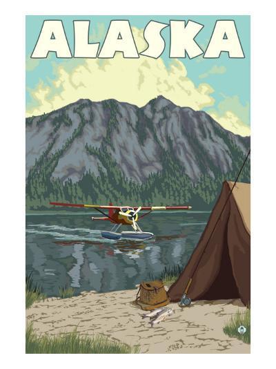 Bush Plane and Fishing, Alaska-Lantern Press-Art Print