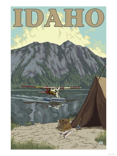 Bush Plane & Fishing, Idaho-Lantern Press-Art Print