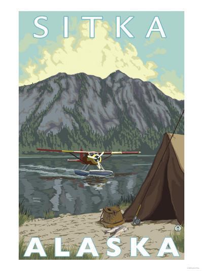 Bush Plane & Fishing, Sitka, Alaska-Lantern Press-Art Print