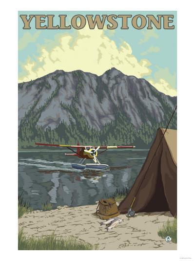 Bush Plane & Fishing, Yellowstone National Park-Lantern Press-Art Print