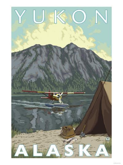 Bush Plane & Fishing, Yukon, Alaska-Lantern Press-Art Print